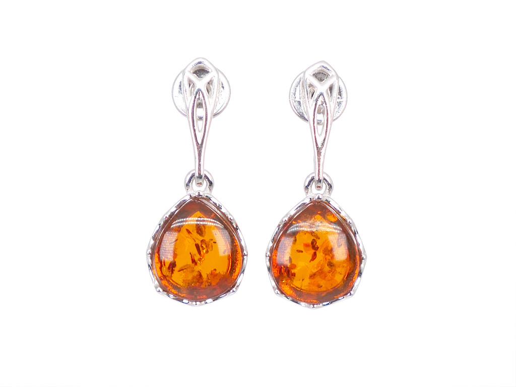 Sterling silver cognac amber filigree drop earrings