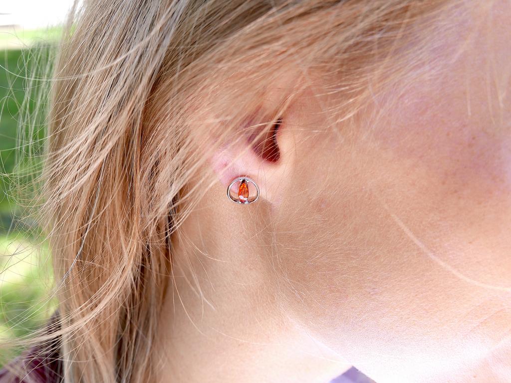 Wave cognac Baltic amber stud earrings