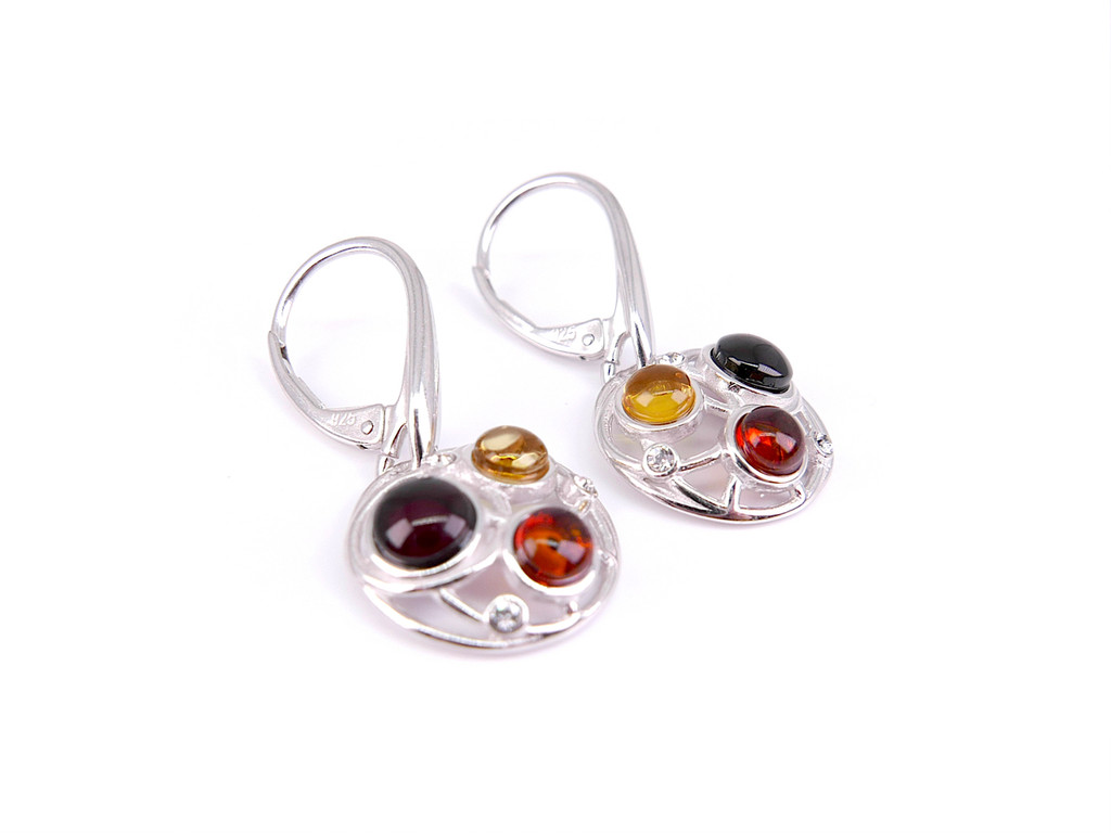 Multicolor amber sterling silver leverback earrings