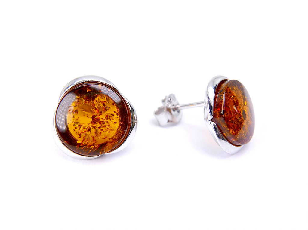 Silver and amber round tapered edge stud earrings