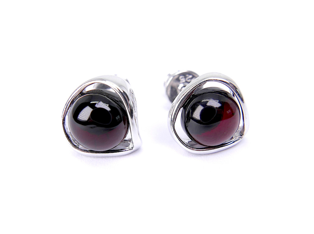 Rounded dark cherry amber stud silver earrings