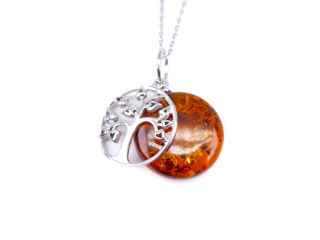 Cognac Baltic amber tree of life silver pendant