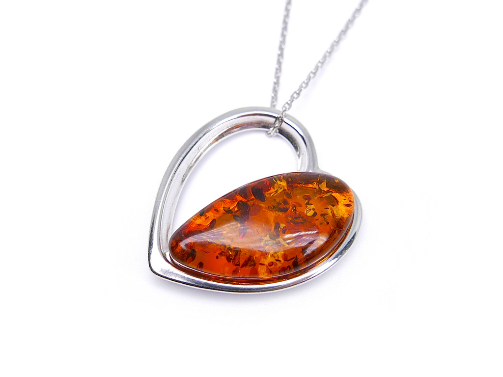 Baltic amber heart-shaped pendant in sterling silver