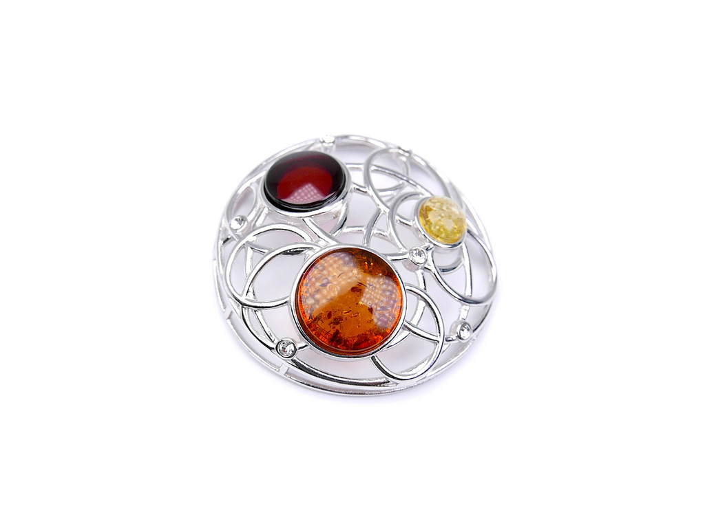 Baltic amber round open circle pendant in sterling silver