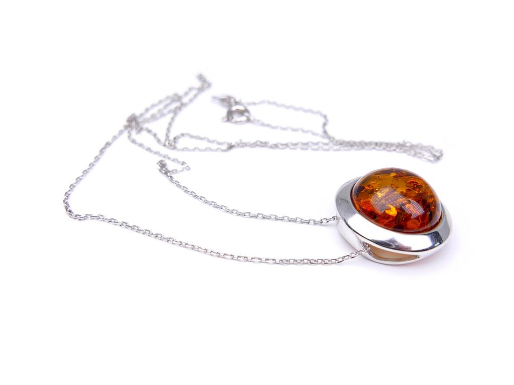 Baltic amber round moon shape silver pendant