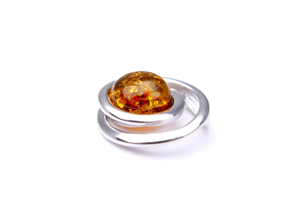 Baltic amber spiral pendant in sterling silver