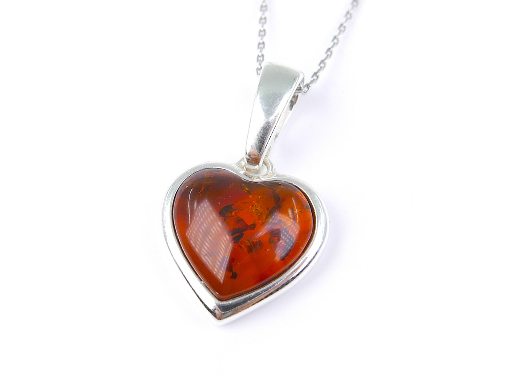 HolidayGiftShops Sterling Silver and Baltic Honey Amber Pendant Vivian