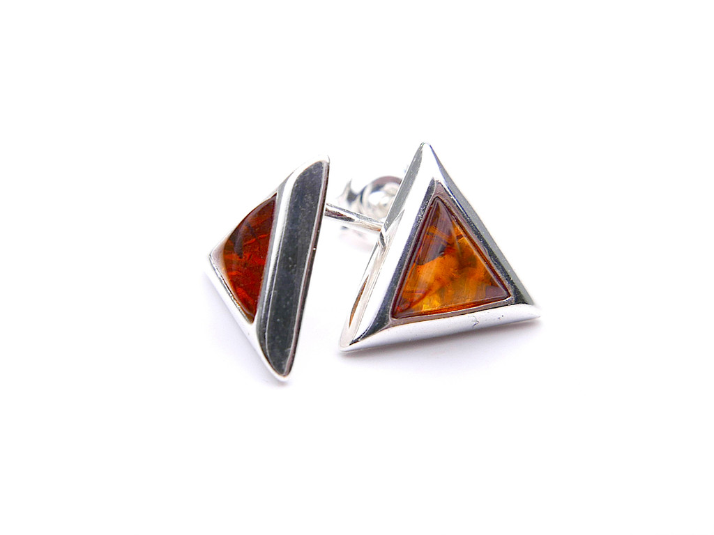 Baltic amber triangle earrings mounted in sterling silver