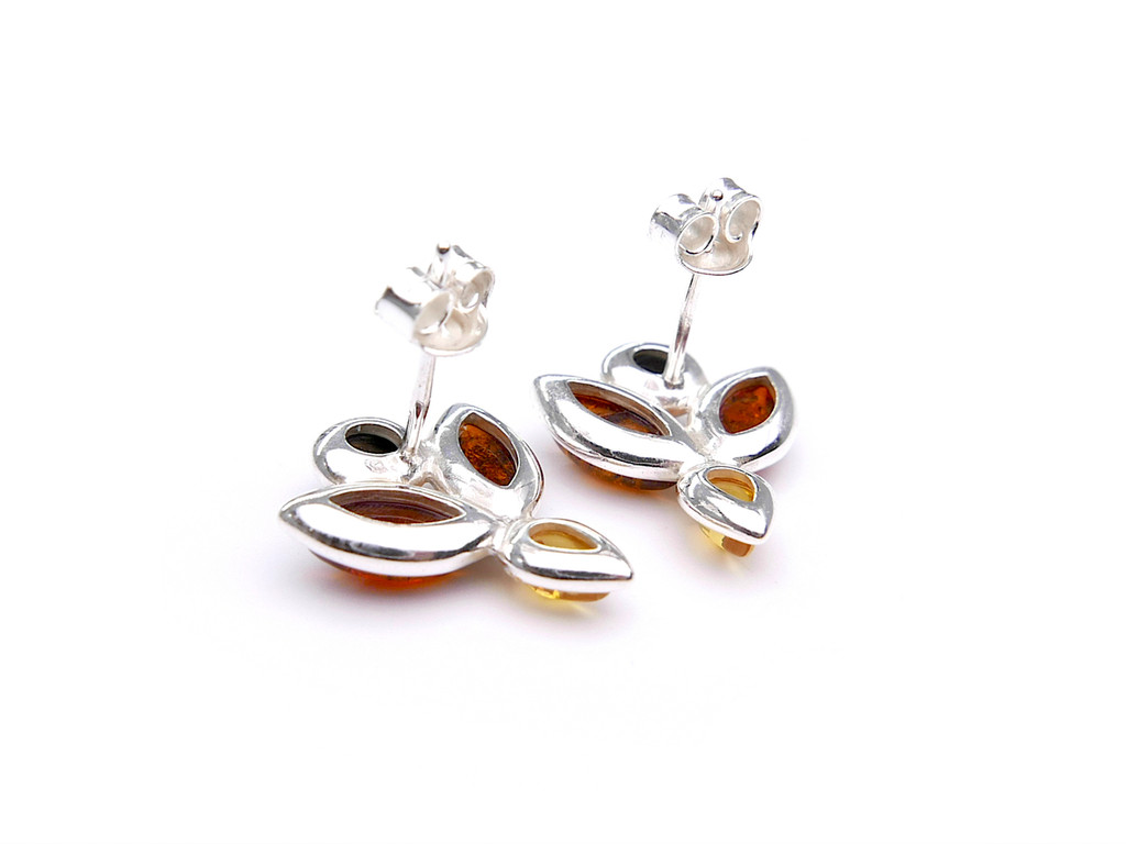 Baltic amber flower stud earrings in sterling silver