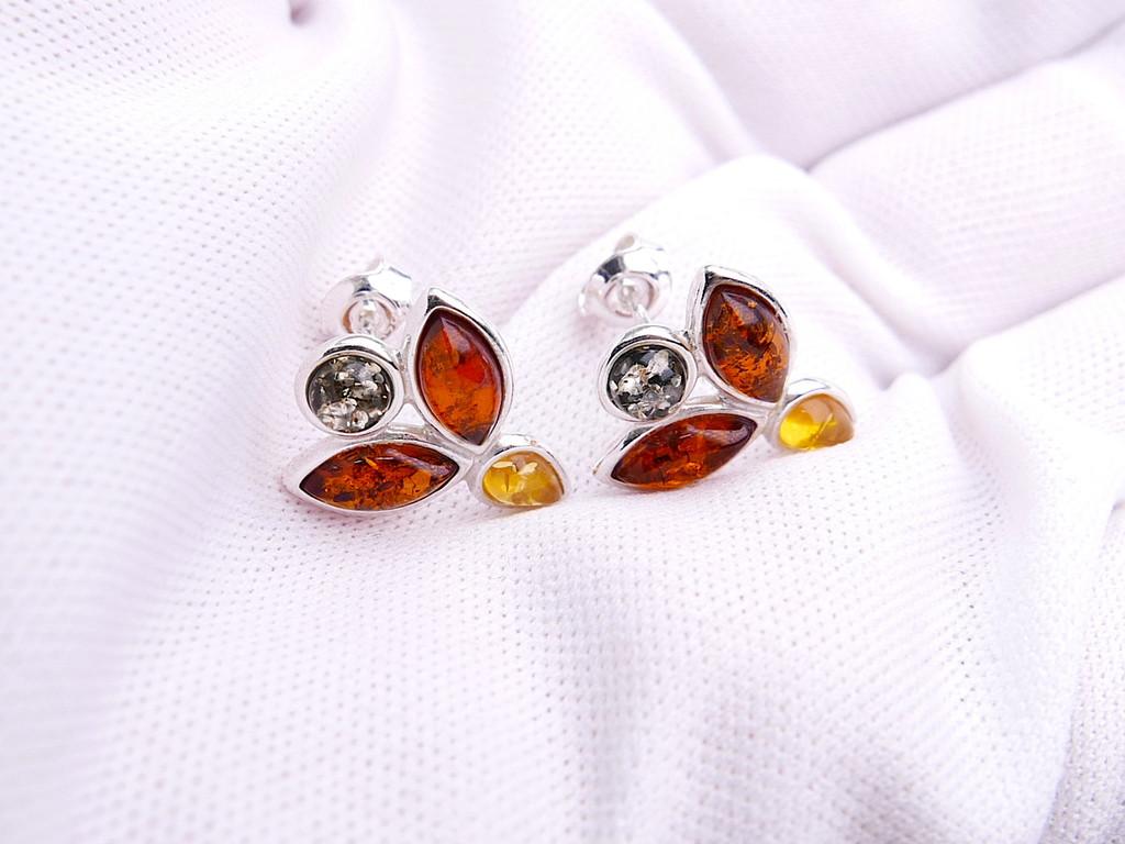 Baltic amber flower stud earrings in sterling silver