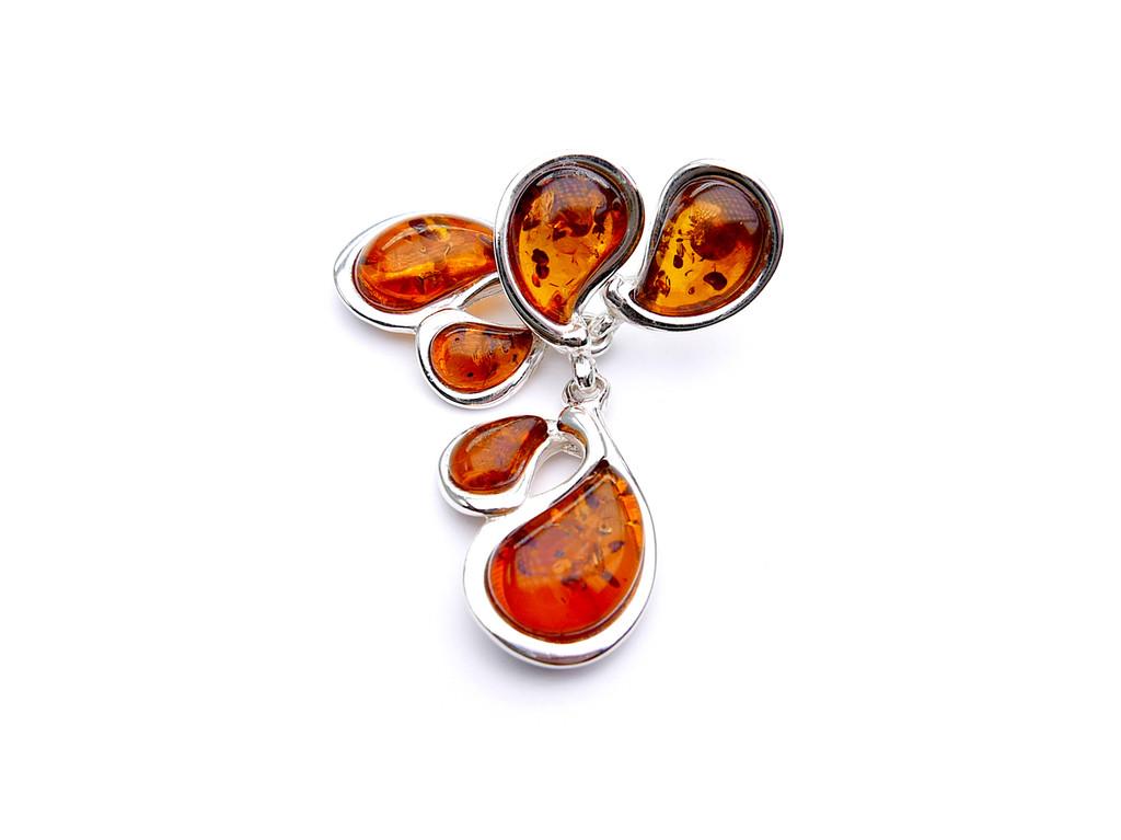 Abstract cognac Baltic amber dangle earrings