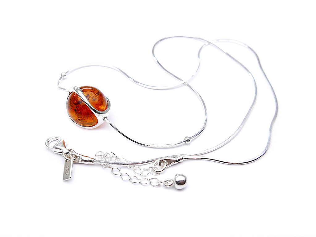 Baltic amber spheres adjustable necklace in sterling silver