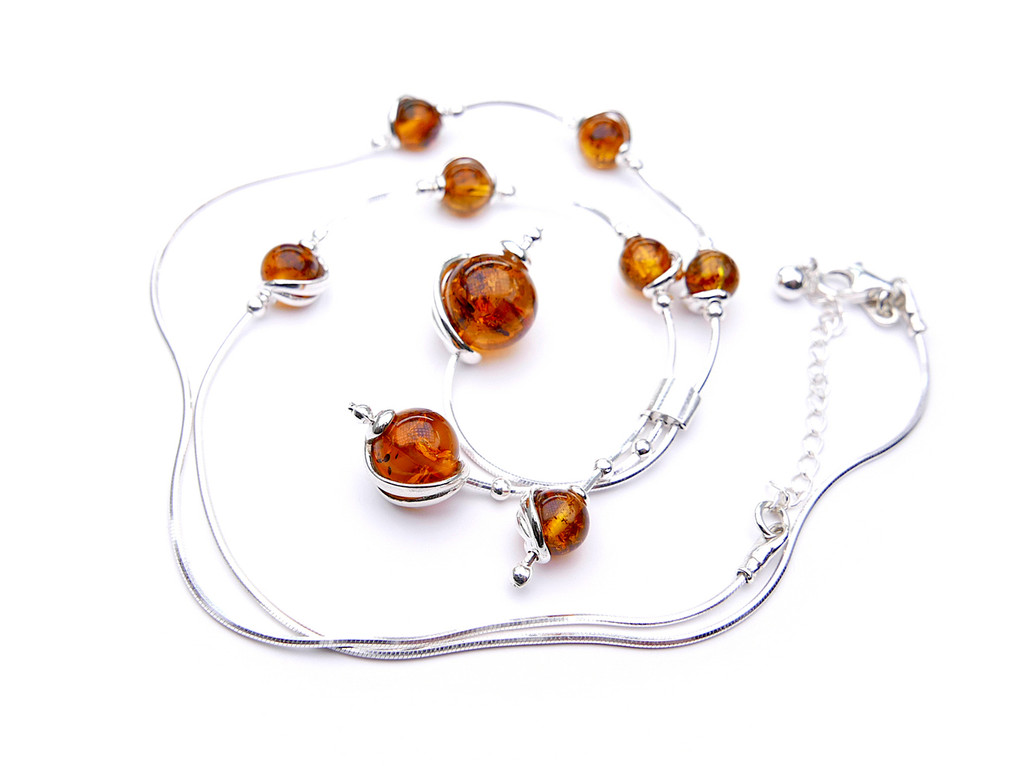 Baltic amber adjustable  sterling silver swirl drop necklace