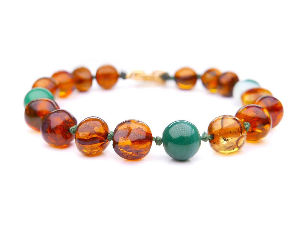 Baltic amber & turquoise beads teething & colic anklet / bracelet