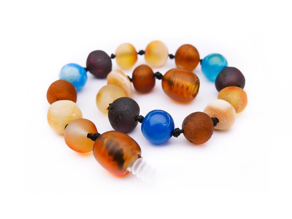 Blue agate amber teething anklet