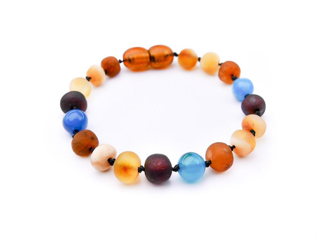 Amber teething bracelet or anklet - maximum strength raw amber & blue agate