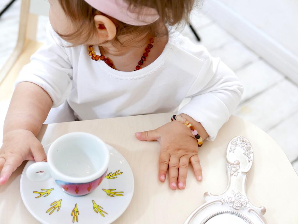 Pink amber teething bracelet or anklet