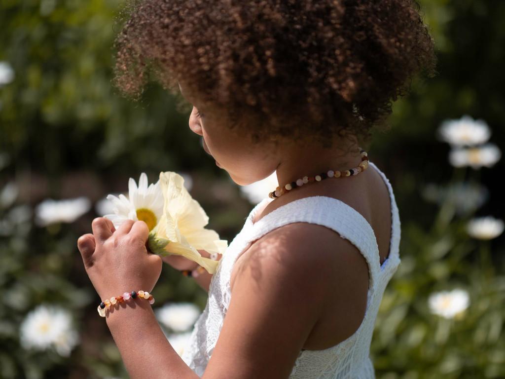 Maximum strength raw unpolished beads amber & pink quartz teething, reflux & colic anklet / bracelet