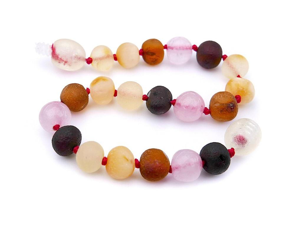 Amber teething bracelet or anklet - maximum strength raw amber & pink quartz