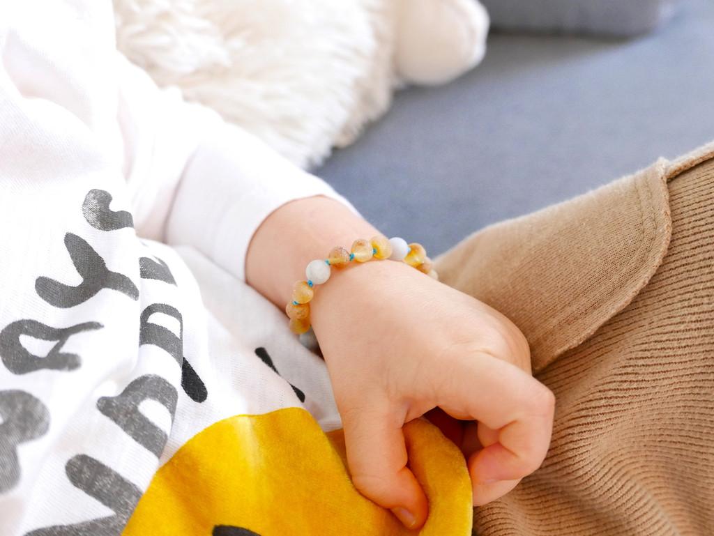 Maximum strength raw unpolished beads amber & matte aquamarine teething, reflux & colic anklet / bracelet