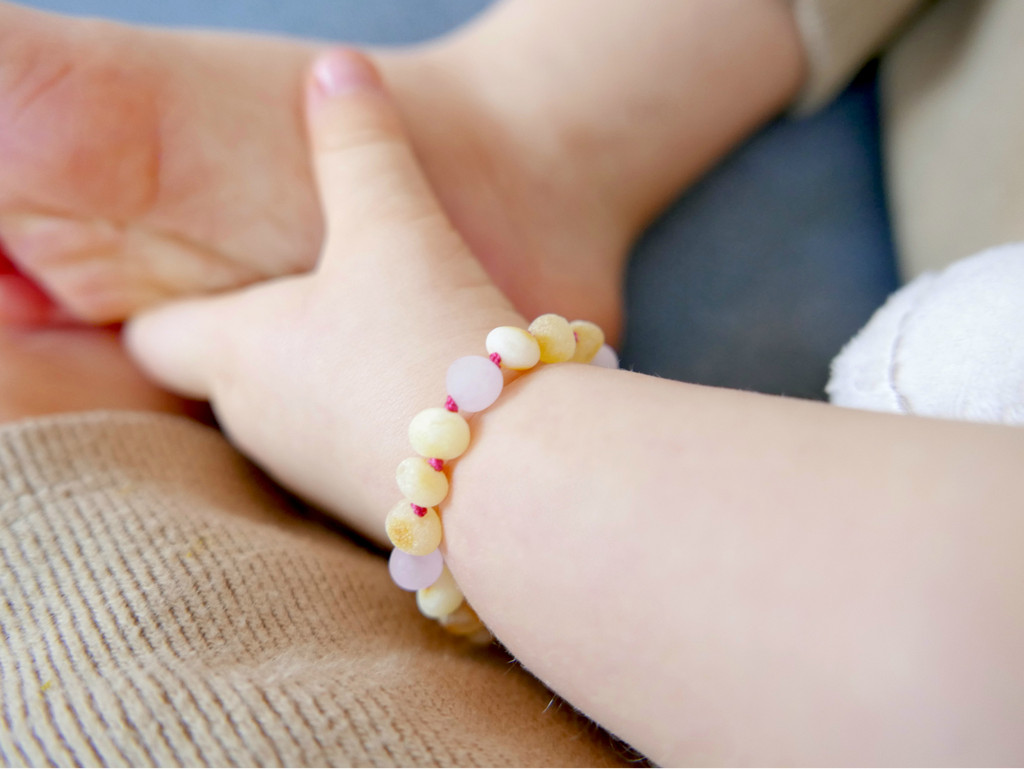 Maximum strength raw unpolished beads amber & matte pink/rose quartz teething, reflux & colic anklet / bracelet