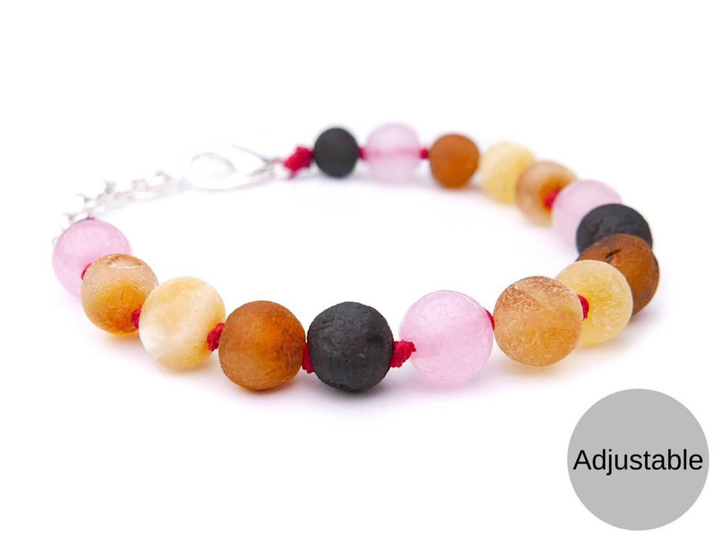 Adjustable pink amber teething bracelet anklet