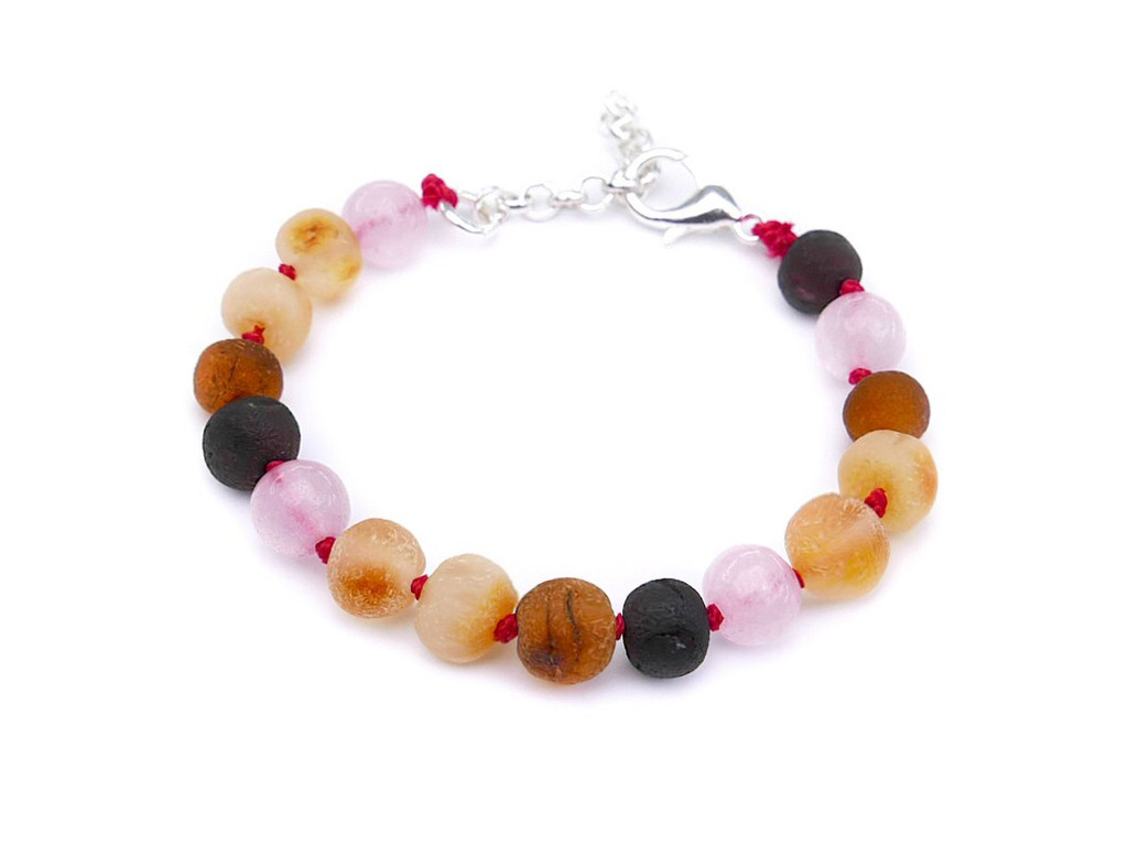 Pink adjustable amber teething bracelet