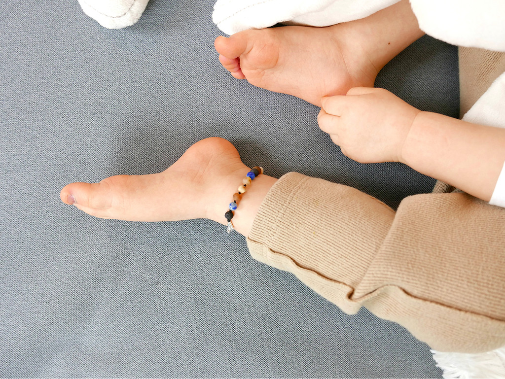 Adjustable Maximum strength raw unpolished beads amber & blue agate teething, reflux & colic anklet / bracelet