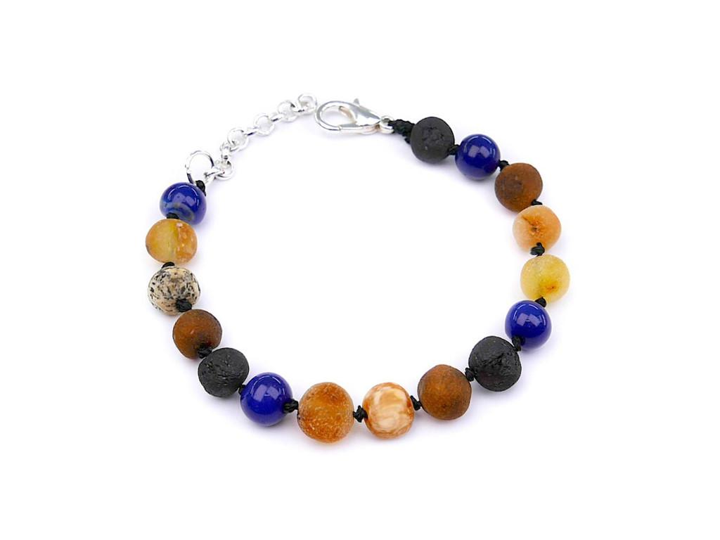 Adjustable maximum strength raw amber & blue agate teething, reflux & colic anklet / bracelet