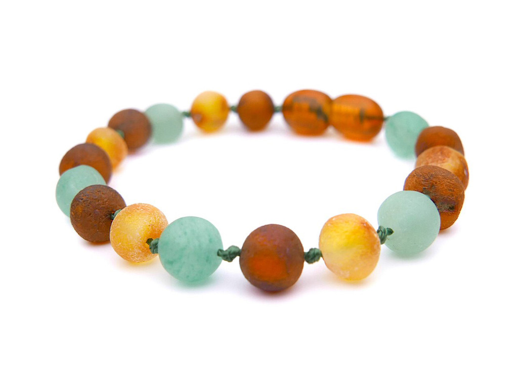Matte green agate amber teething anklet
