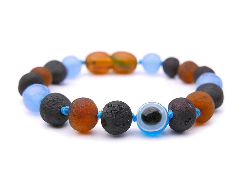 Maximum strength raw amber & light blue jade stone teething, reflux & colic anklet / bracelet