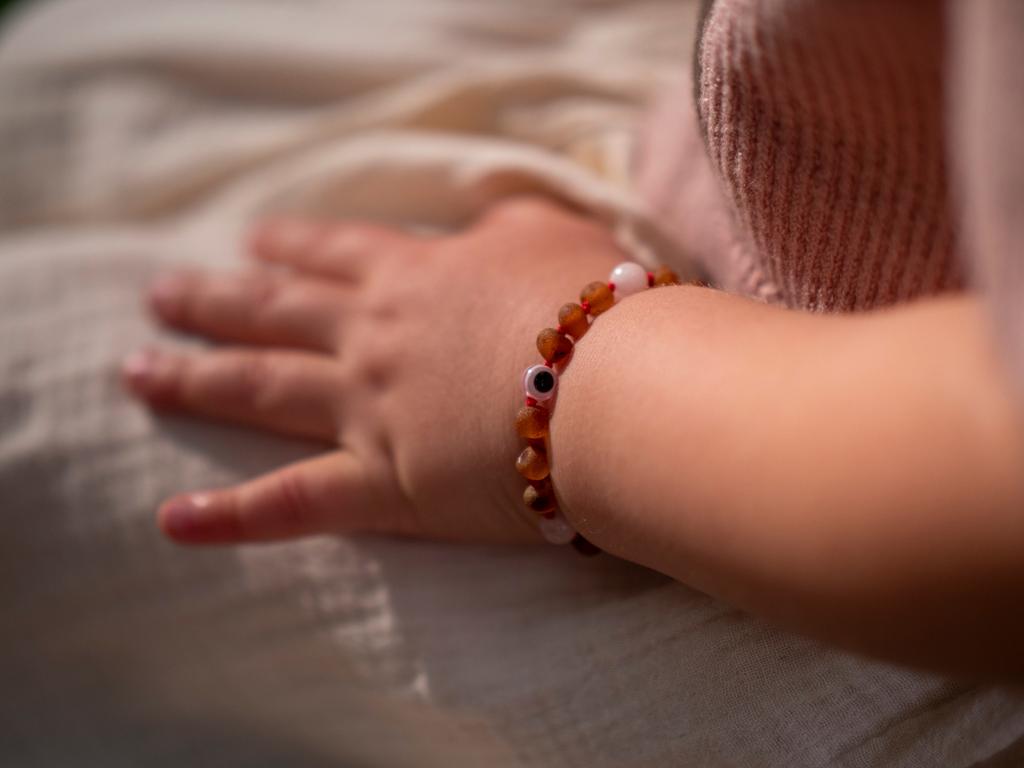 Maximum strength raw unpolished beads amber & rose quartz teething, reflux & colic anklet / bracelet