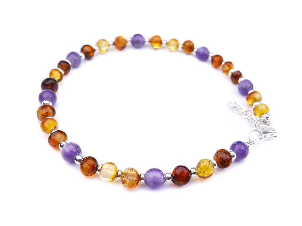Adjustable adult amber anklet purple amethyst