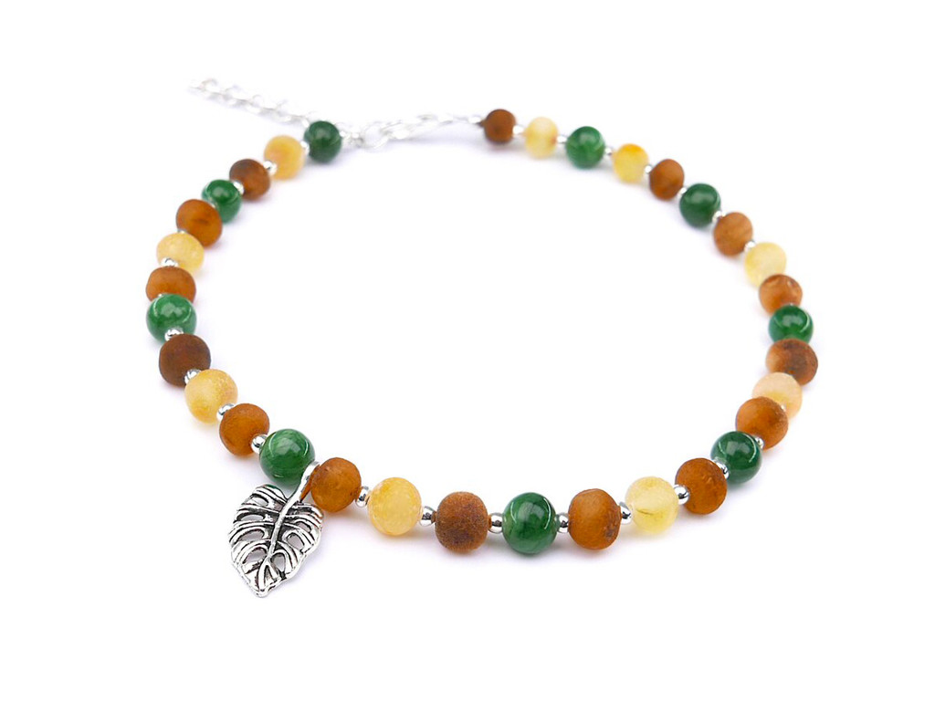 adult amber anklet with jade stone