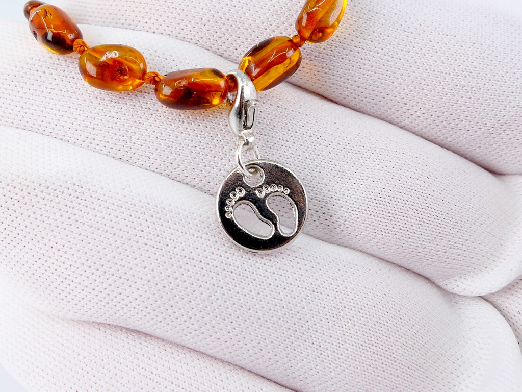 Baby feet disc charm pendant