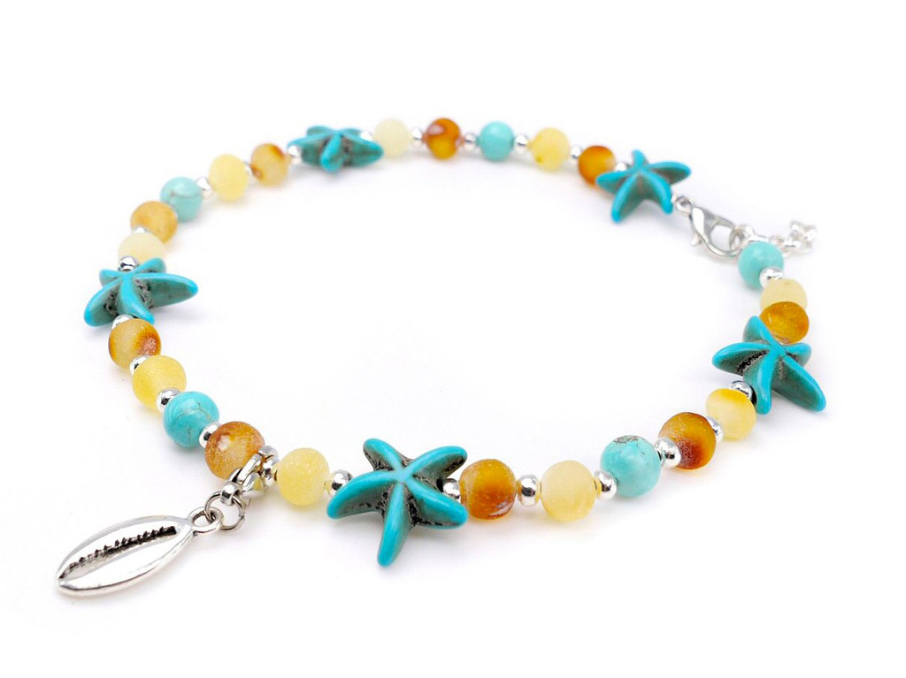 Turquoise adult amber anklet raw