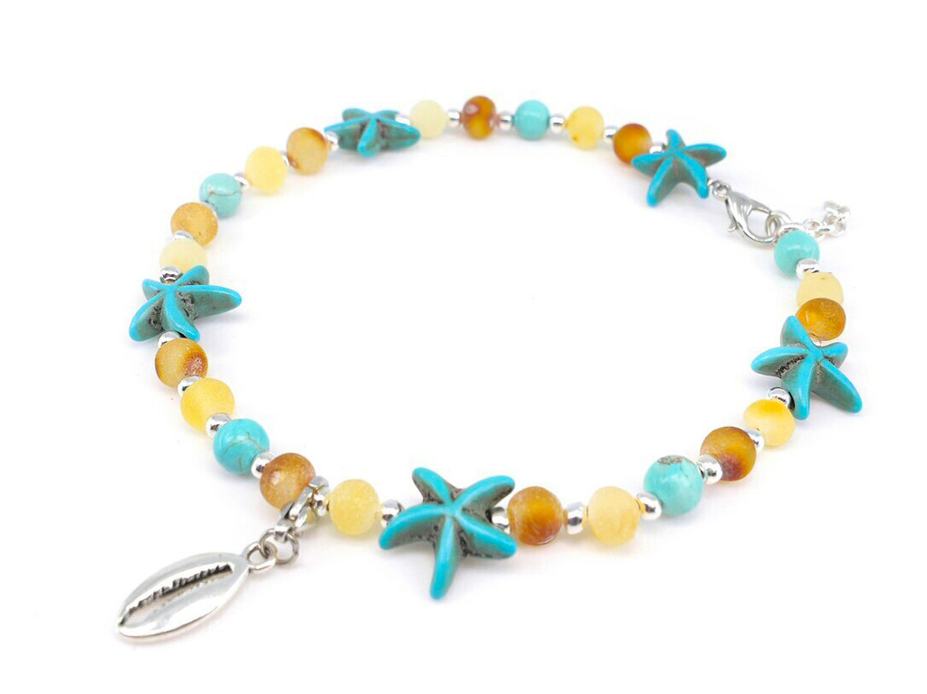 Adult amber anklet raw turquoise starfish