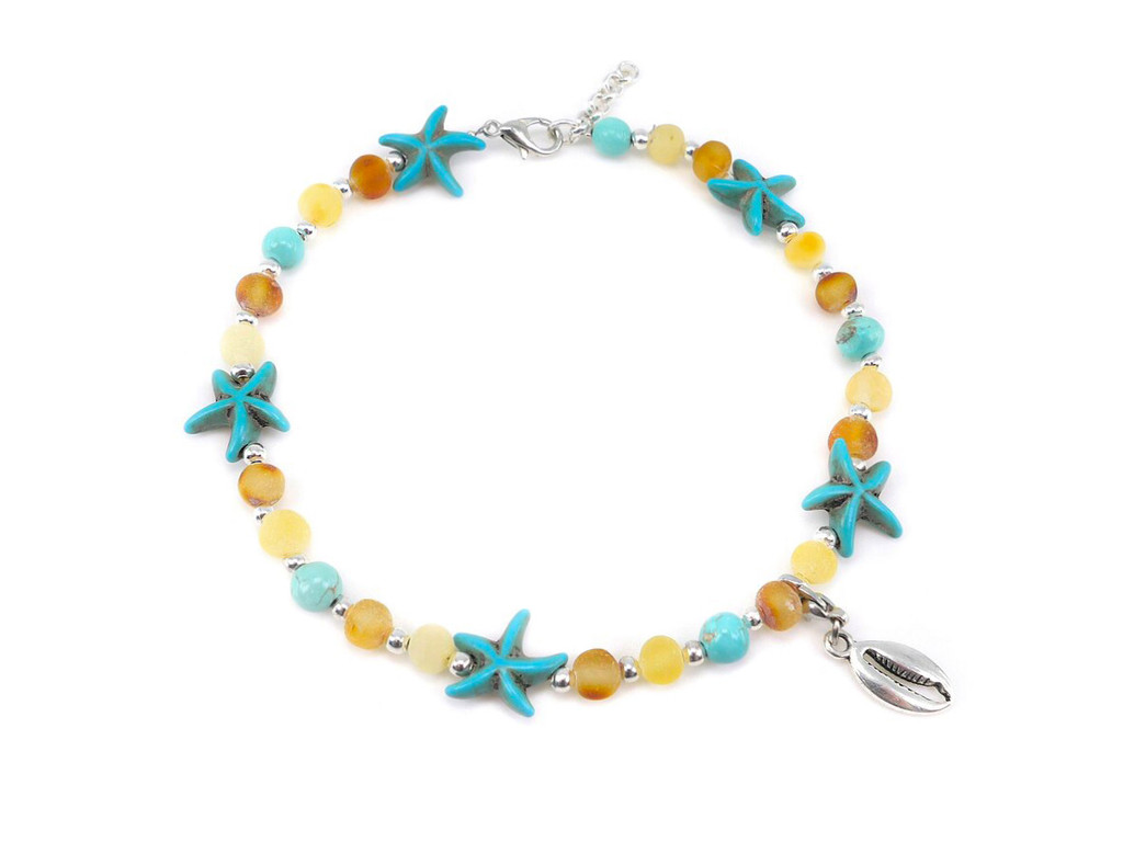 Turquoise raw adult amber anklet