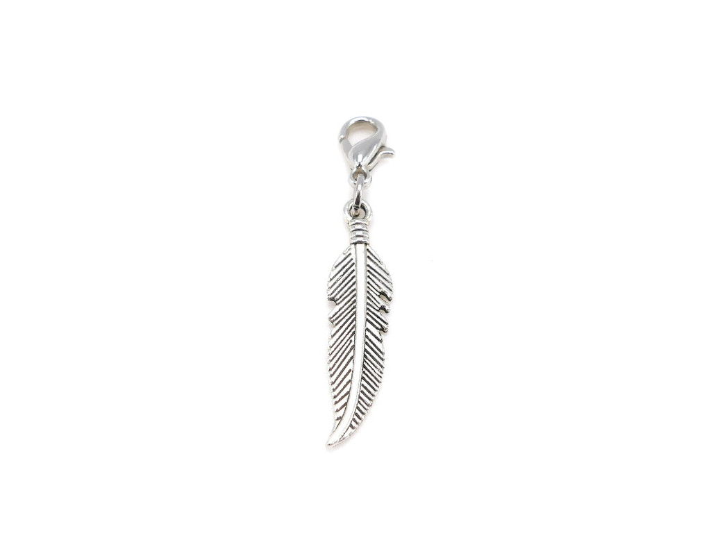 Feather charm pendant