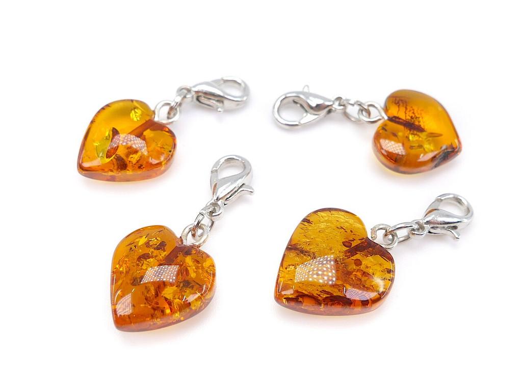 Amber heart charm pendant
