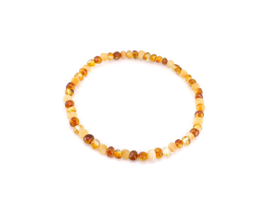 Stretch adult amber anklet / raw unpolished and polished multicoloured baroque beads