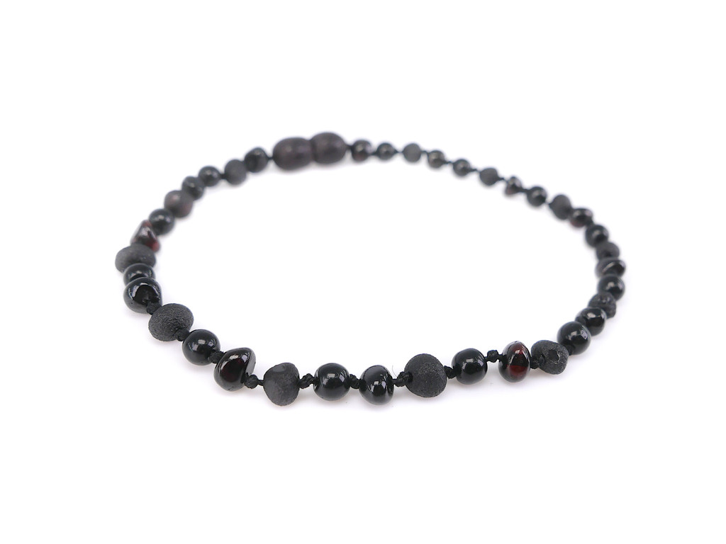 Dark cherry baroque beads amber healing bracelet with dark red garnet beads