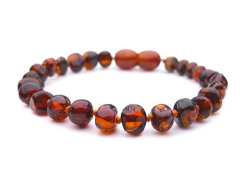 Dark cognac amber teething bracelet
