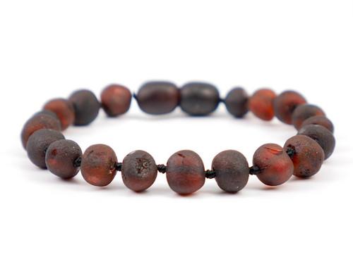 Amber teething anklet or bracelet - maximum strength dark cherry raw beads