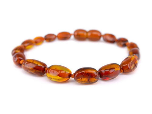 Cognac amber teething bracelet or anklet