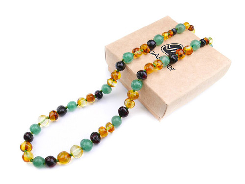 Multicoloured amber & green aventurine teething, reflux & colic necklace