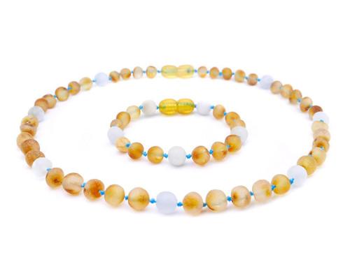 Aquamarine amber teething set
