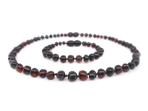 Amber teething set - dark cherry baroque beads