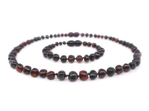 Dark cherry amber teething set