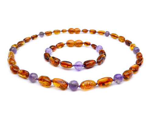 Cognac olive beads amber & amethyst teething, reflux & colic set